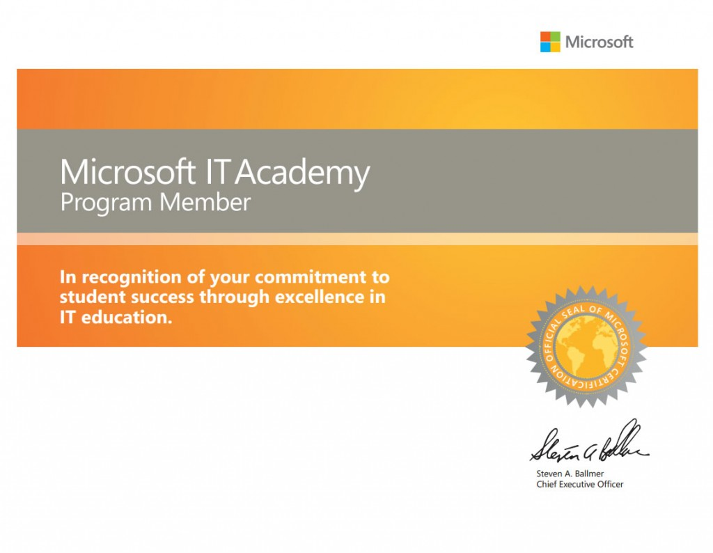 Microsoft Certificate Of Excellence MCITPEA Completed Passed The ...
