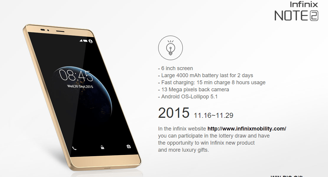 Infinix new device is the Note 2, see specification